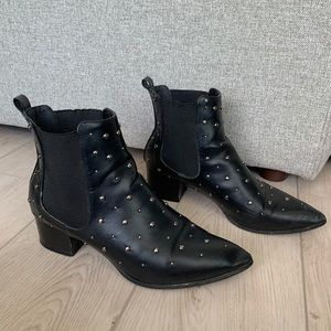 Black ankle booties with silver studs